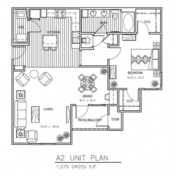 A2 - 1075 sqft