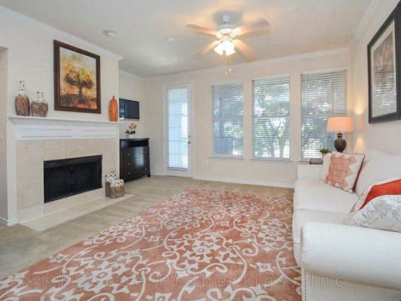 Fireplace at Landing at Round Rock apartments at 7711 O Conner Road, TX 78681