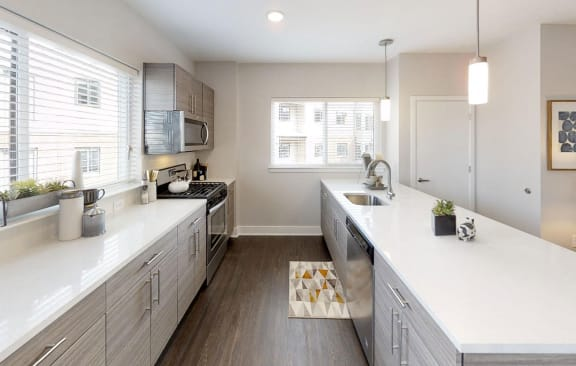 Quartz Countertops and contemporary cabinetry in kitchen