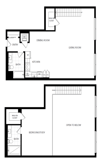 unit 226_1 bedroom loft at The Mansfield at Miracle Mile, Los Angeles, CA