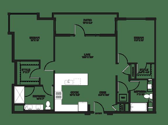 Floor Plan  Two bedroom floor plan