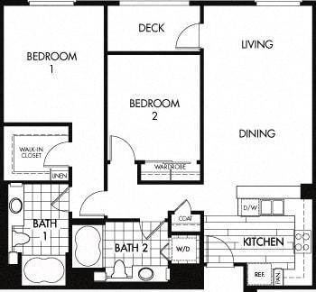 Floor Plan  Floor plan at Trio Apartments, Pasadena, CA