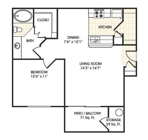 Floor Plan  Stonebridge Ranch Apartment Homes for Rent in Chandler AZ  1 bedroom apartment floor plan
