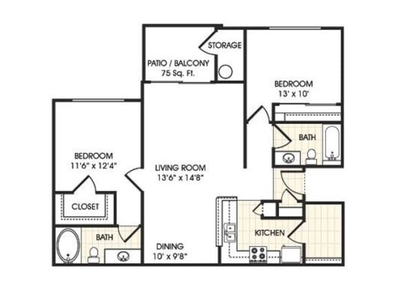 Floor Plan  Stonebridge Ranch Apartment Homes for Rent in Chandler AZ  2 bedroom apartment floor plan