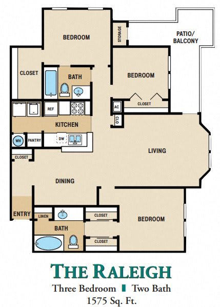 Floor Plan  Three Bedroom Two Bathrooms