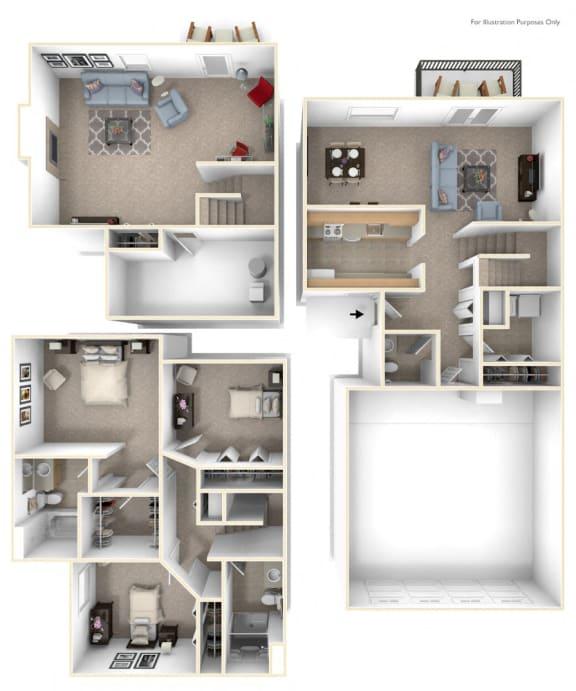 Three Bedroom Two-story Floor Plan at Autumn Lakes Apartments and Townhomes, Mishawaka
