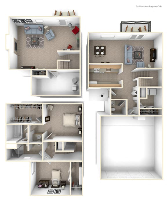 Two Bedroom Two-Story Floor Plan at Autumn Lakes Apartments and Townhomes, Mishawaka, Indiana