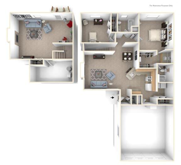 Two Bedroom Ranch Floor Plan at Autumn Lakes Apartments and Townhomes, Mishawaka, 46544