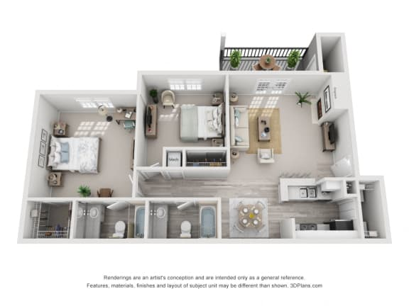 968 sq.ft. Two Bed Two Bath