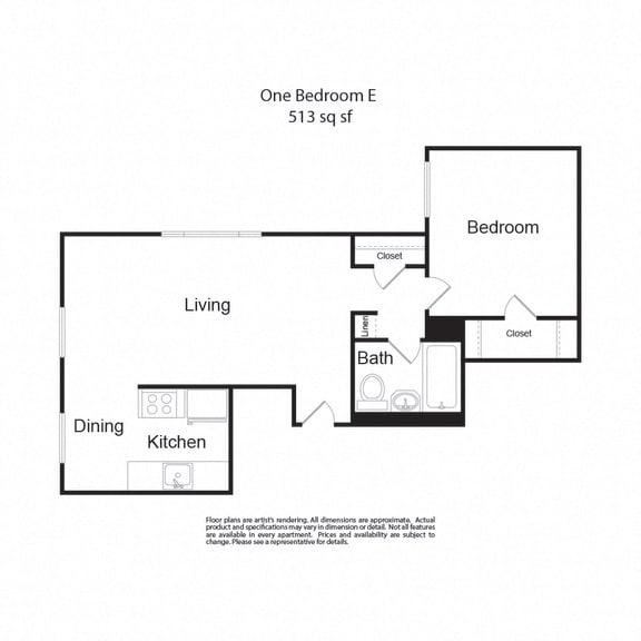 Floor Plan  LockVista FP OneBedroomE 1b1b 513sf