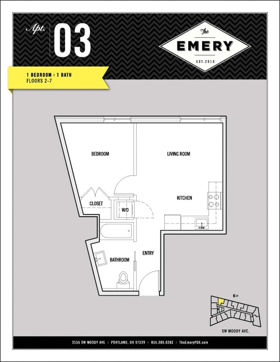 Floor Plan  1 Bed 1 Bath Floor Plan at The Emery, Portland