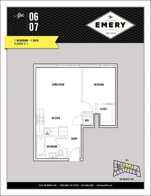 Floor Plan  1 Bed 1 Bath Floor Plan at The Emery, Oregon