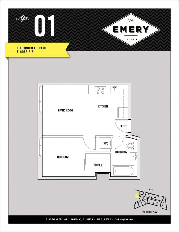 Floor Plan  1 Bed 1 Bath Floor Plan at The Emery, Oregon, 97239