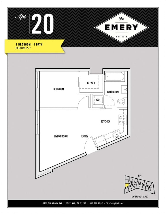 Floor Plan  1 Bed 1 Bath Floor Plan at The Emery, Portland, OR 97239