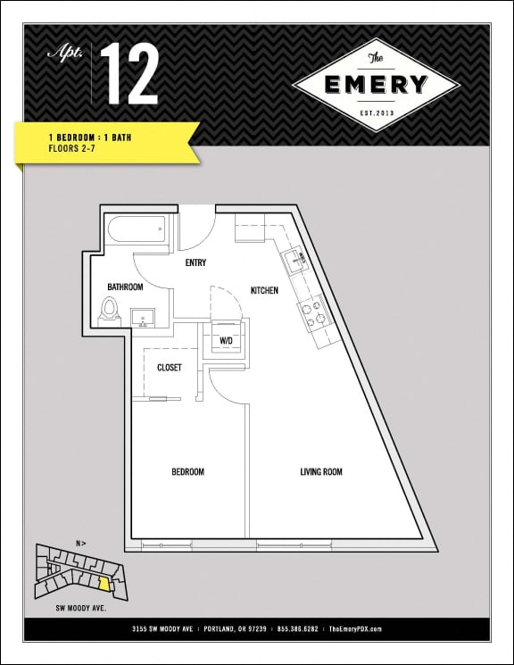 Floor Plan  1 Bed 1 Bath Floor Plan at The Emery, Portland, 97239