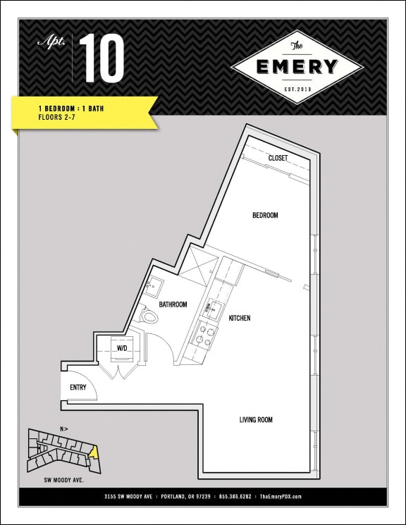 Floor Plan  1 Bed 1 Bath Floor Plan at The Emery, Portland,Oregon