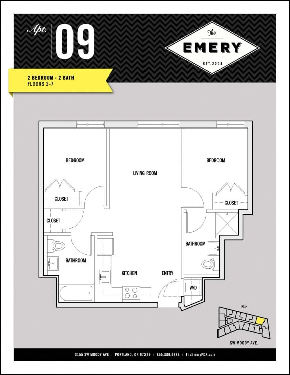 Floor Plan  2 Bed 2 Bath Floor Plan at The Emery, Portland, OR