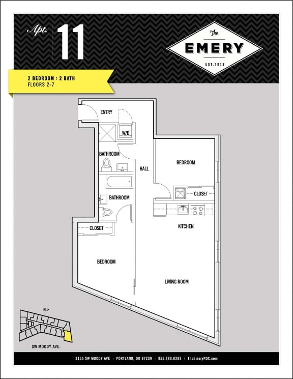 Floor Plan  2 Bed 2 Bath Floor Plan at The Emery, Portland, OR 97239