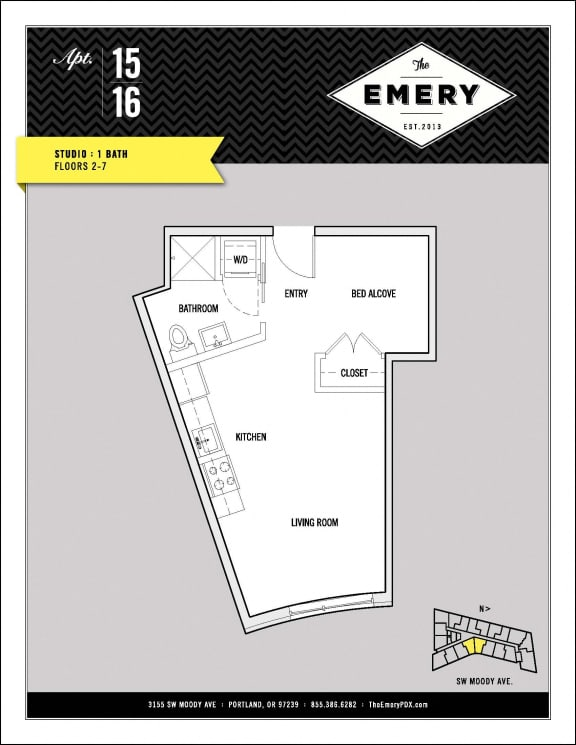 Floor Plan  Studio Floor Plan at The Emery, Portland, 97239