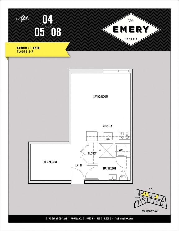 Floor Plan  Studio Floor Plan at The Emery, Portland,Oregon