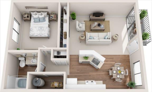Floor Plan  Cottage 1B/1B 3D Floor Plan