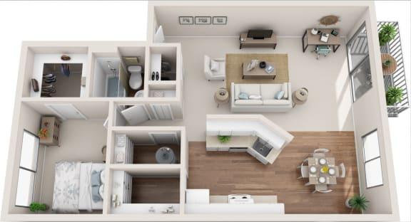 Floor Plan  Meadowbrook 1B/1B 3D Floor Plan