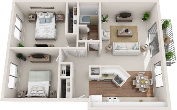 Floor Plan  Summerfield 2B/1B 3D Floor Plan