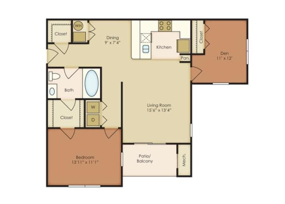 2 Bed 1 Bath Floor Plan at The Residence at North Penn, Oklahoma City