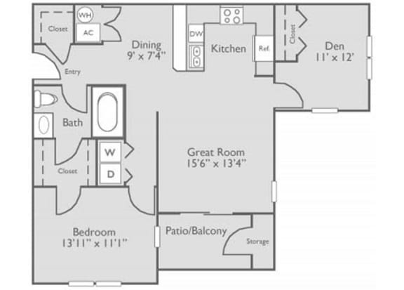 2 Bed 1 Bath Floor Plan at The Residence at North Penn, Oklahoma City, 73134