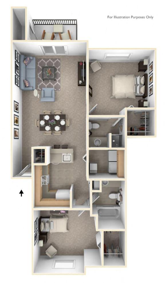 Two Bedroom Two Bath Floorplan at Gull Prairie/Gull Run Apartments and Townhomes, Kalamazoo, MI