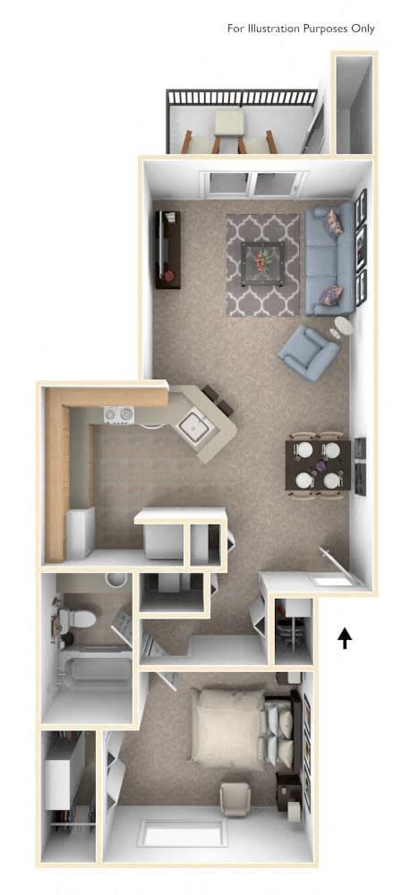 One Bedroom Traditional - GR Floorplan at Gull Prairie/Gull Run Apartments and Townhomes, Kalamazoo, 49048