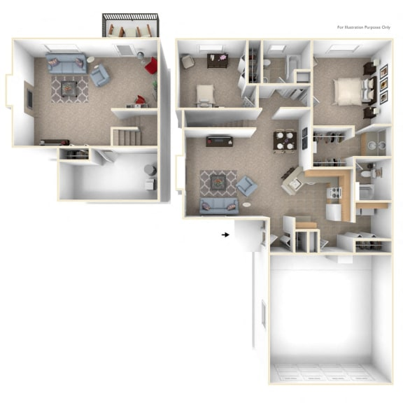 Two Bedroom Ranch Floorplan at Gull Prairie/Gull Run Apartments and Townhomes, Michigan