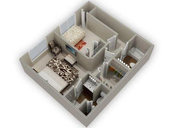 Two Bedroom 2.5 Bathroom Floor Plan Acacia