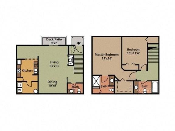Two Bedroom 2.5 Bathroom Floor Plan Acacia with Garage
