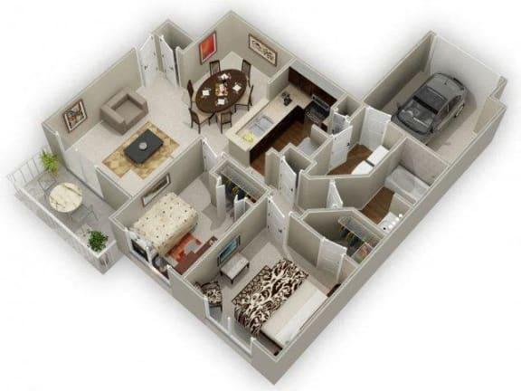 Two Bedroom One Bathroom Floor Plan Holly