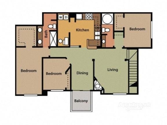 Three Bedroom Two Bathroom Floor Plan Jasmine