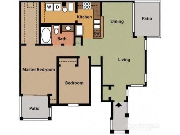 Two Bedroom One Bathroom Floor Plan Laurel