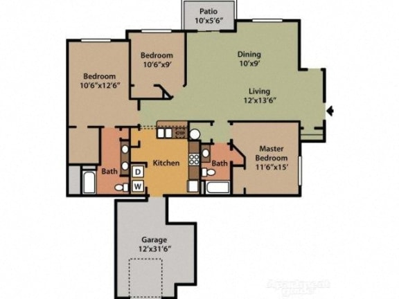Three Bedroom Two Bathroom Floor Plan Magnolia