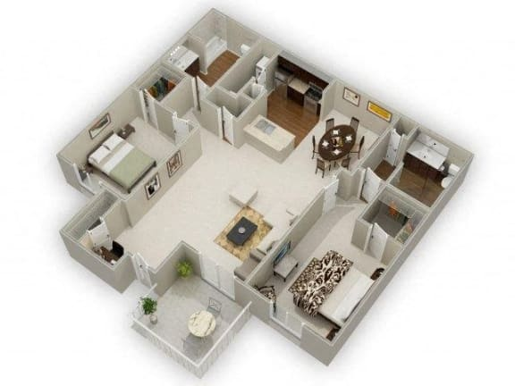 Two Bedroom Two Bathroom Floor Plan Oak