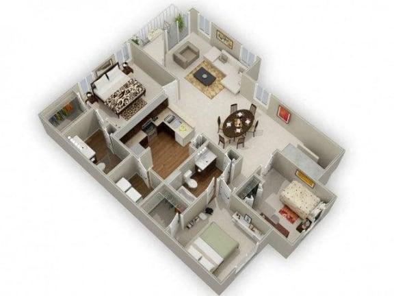 Three Bedroom Two Bathroom Floor Plan Red Cedar