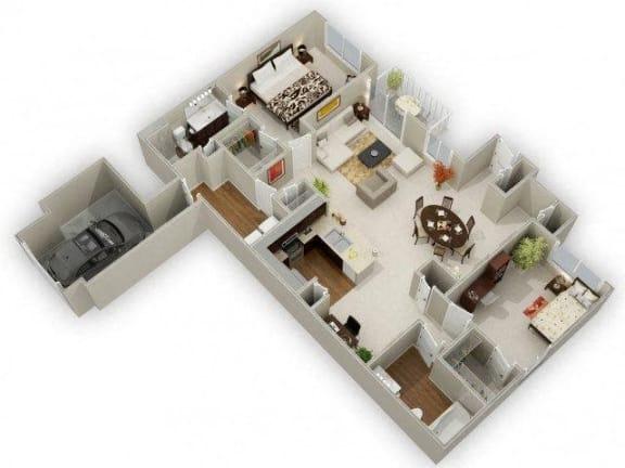 Two Bedroom Two Bathroom Floor Plan River