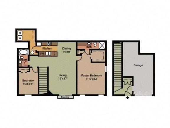 Two Bedroom Two Bathroom Floor Plan Spruce