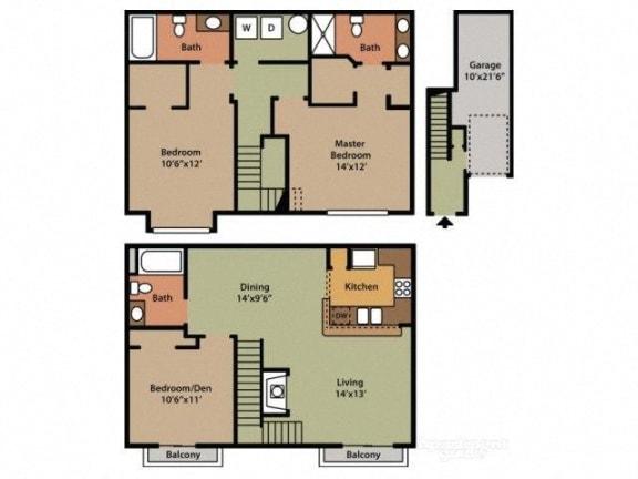 Three Bedroom Three Bathroom Floor Plan Willow