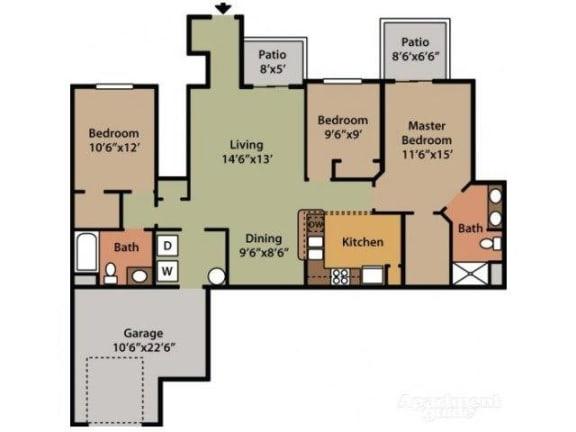 Three Bedroom Two Bathroom Floor Plan Azalea