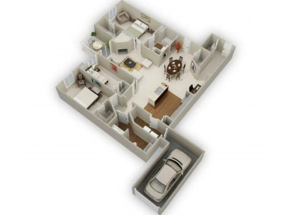 Three Bedroom Two Bathroom Floor Plan Cypress