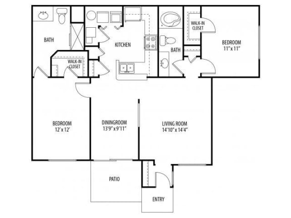 Two Bedroom Two Bathroom Floor Plan Elm