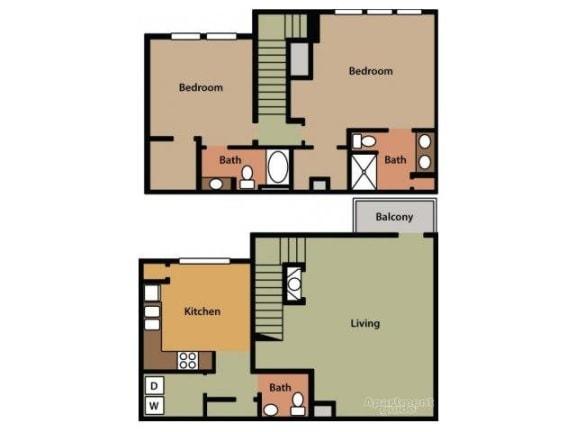 Two Bedroom 2.5 Bathroom Floor Plan Hawthorne