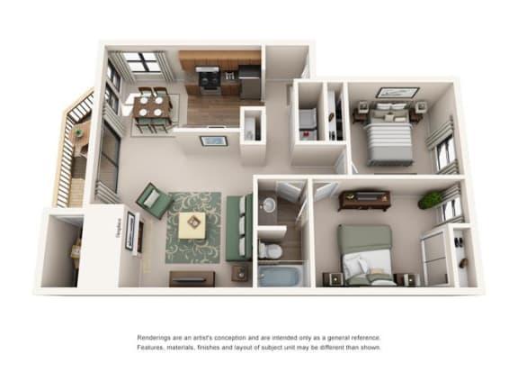 2 Bed 1 Bath Floor Plan at Sorrento Bluff, Oregon, 97008