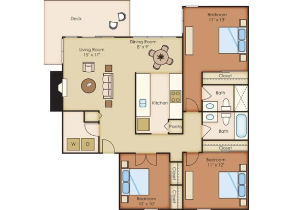 3 Bed 2 Bath Floor Plan at Sorrento Bluff, Beaverton, OR