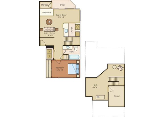 1 Bed 1 Bath Floor Plan at Sorrento Bluff, Oregon